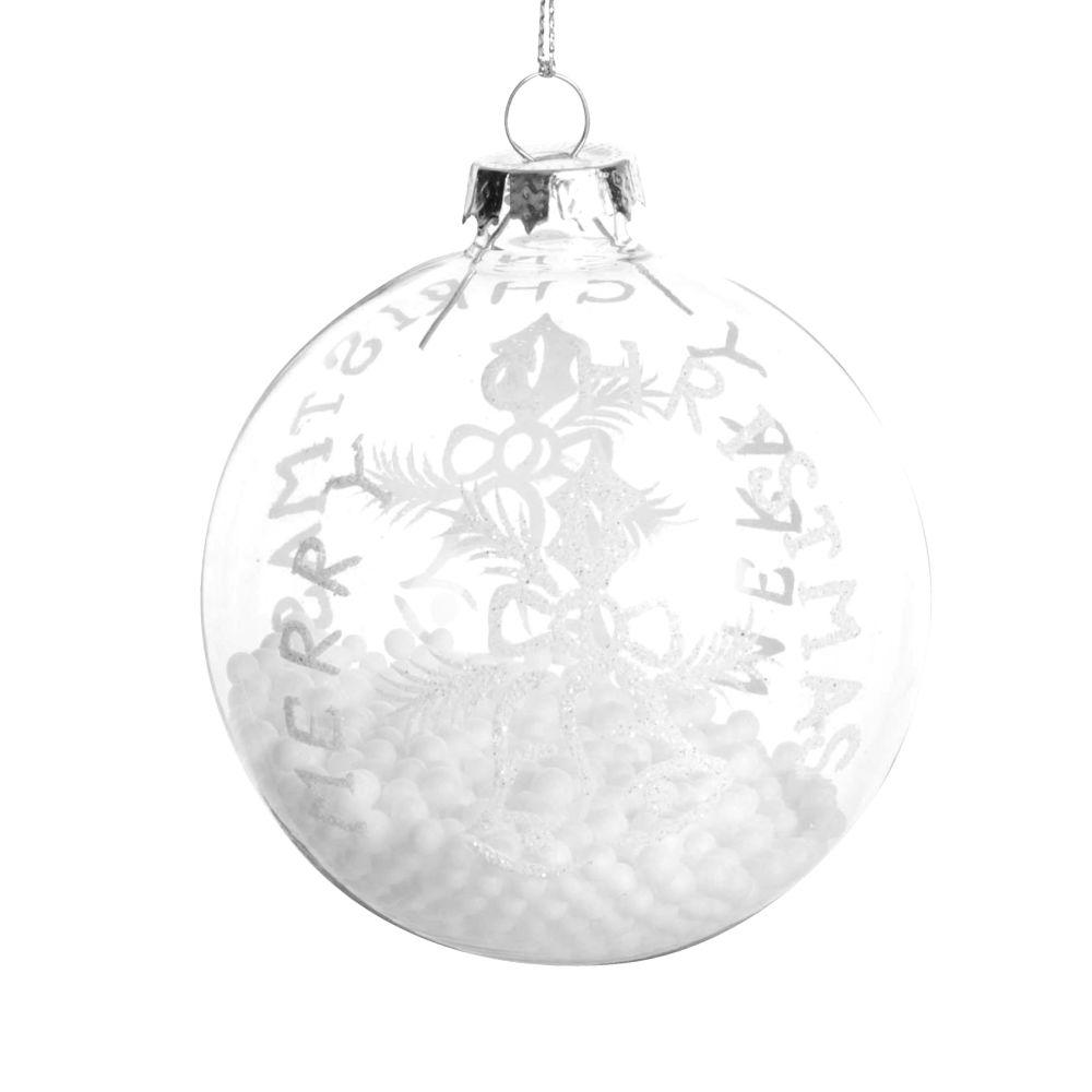 Boule de Noël en verre transparent motifs cloches à billes blanches