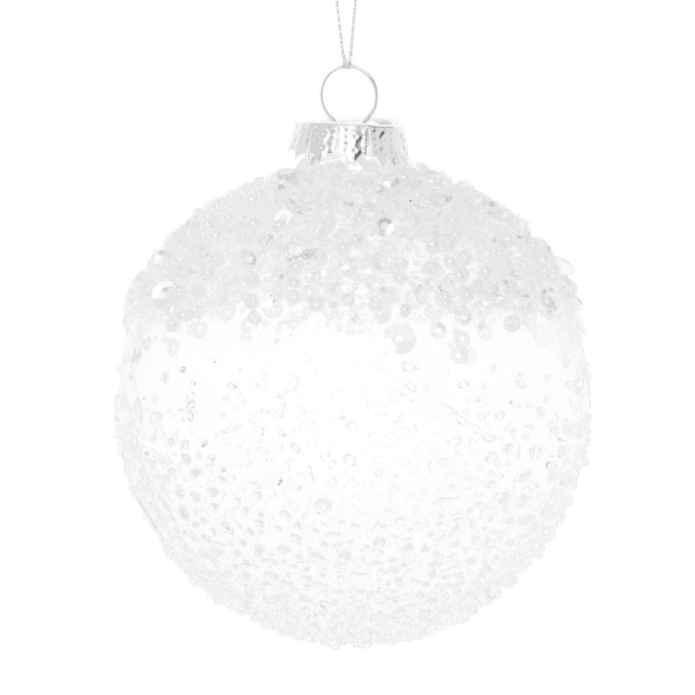 Boule de Noël en verre transparent, perles et confettis argentés