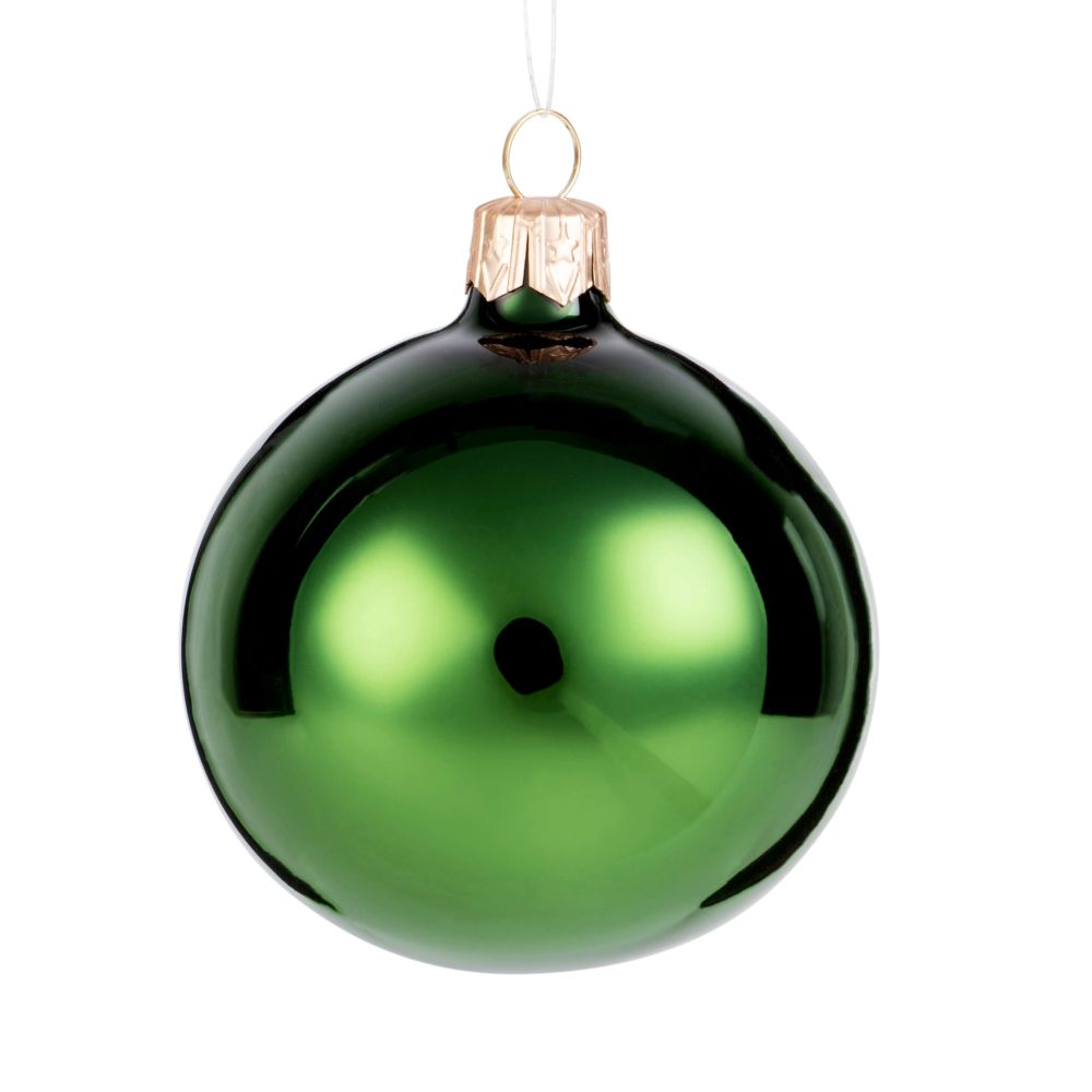 Boule de Noël en verre vert brillant