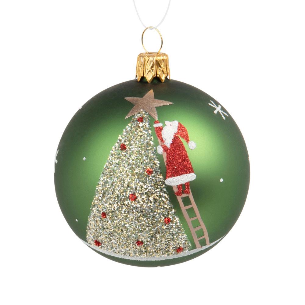 Boule de Noël en verre vert imprimé sapin et Père Noël