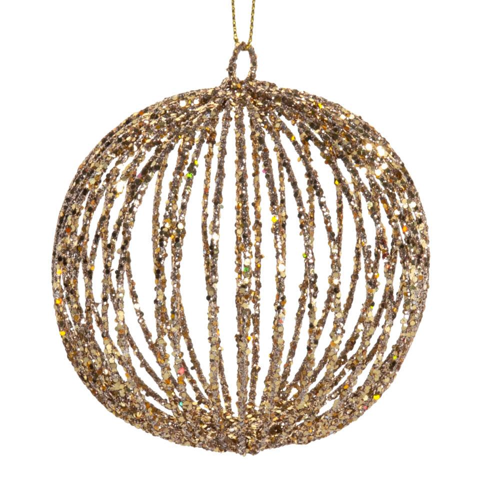 Boule de Noël filaire en fer forgé à paillettes dorées