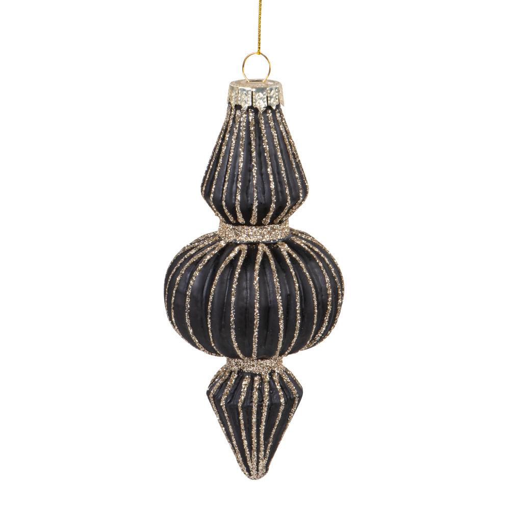 Boule de Noël goutte en verre strié noir à paillettes dorées