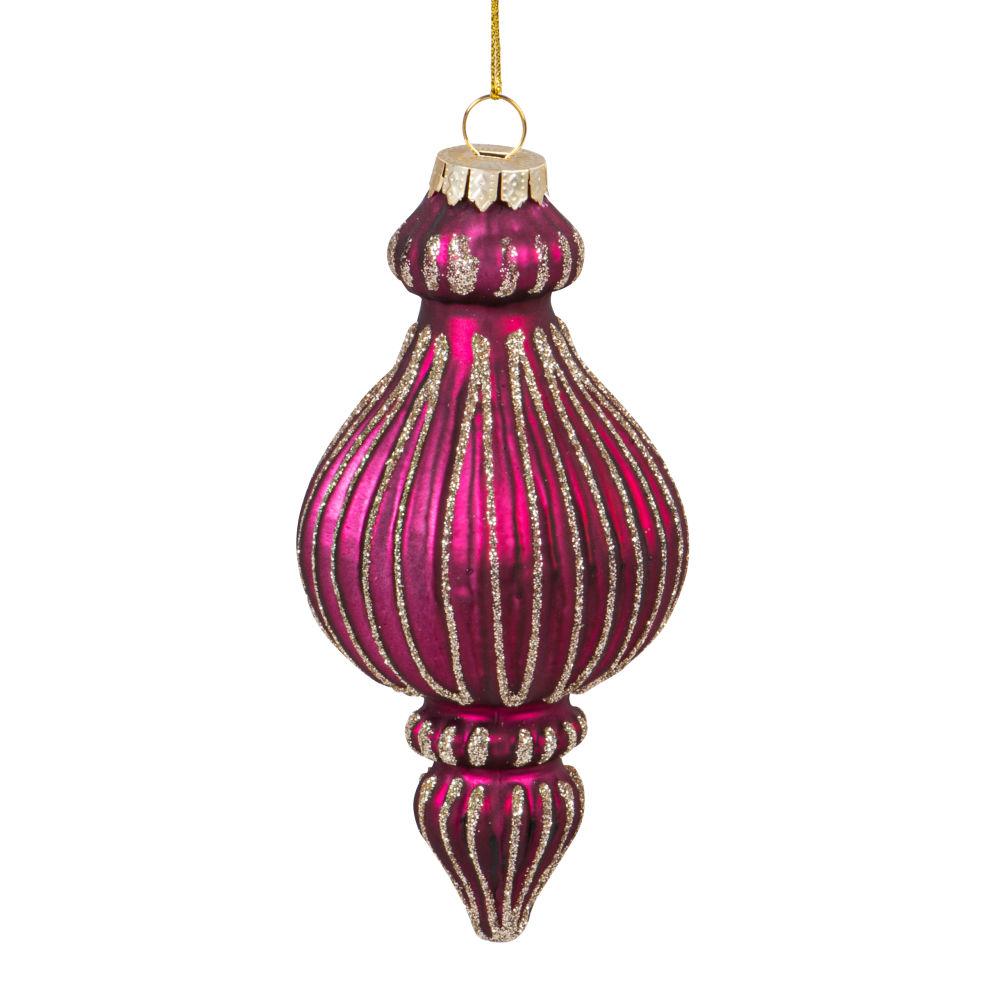 Boule de Noël goutte en verre strié rose framboise à paillettes dorées