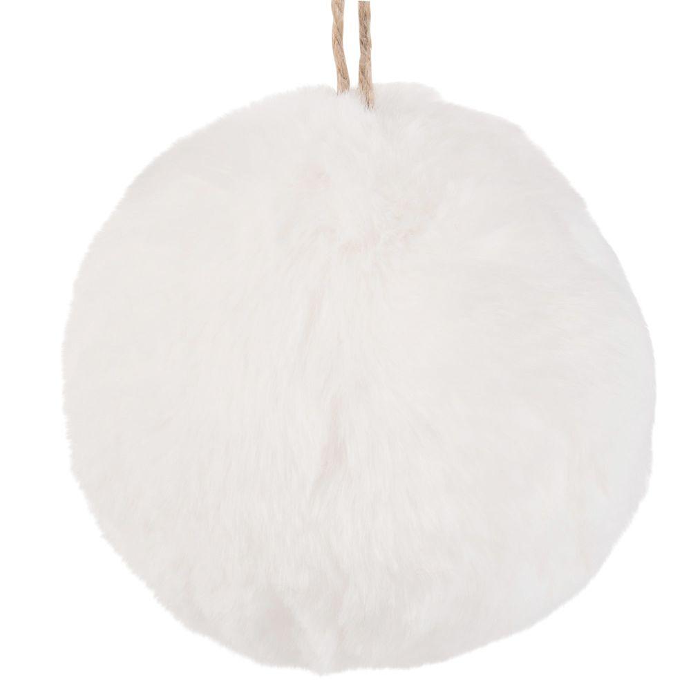 Boule de Noël imitation fourrure blanche