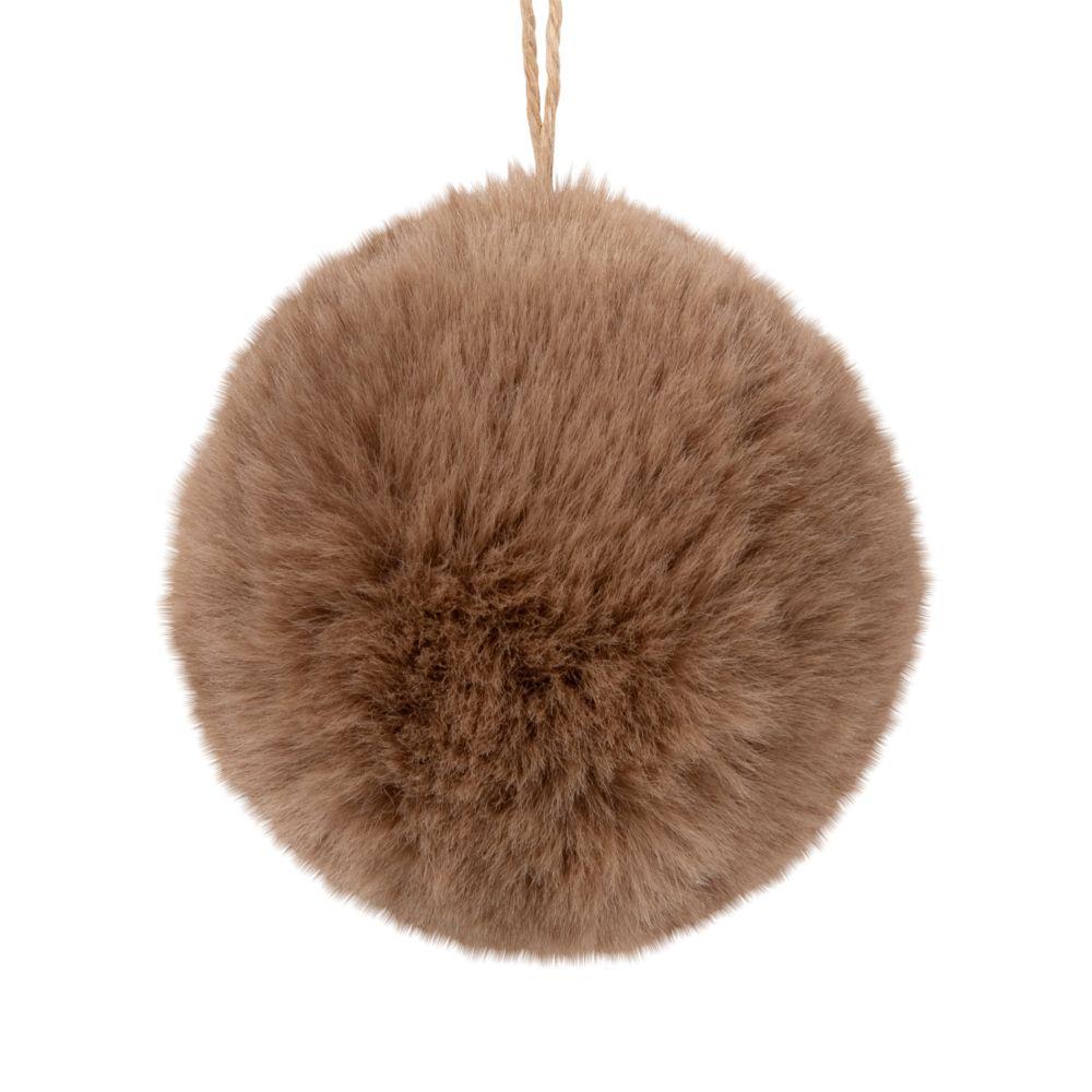 Boule de Noël imitation fourrure marron