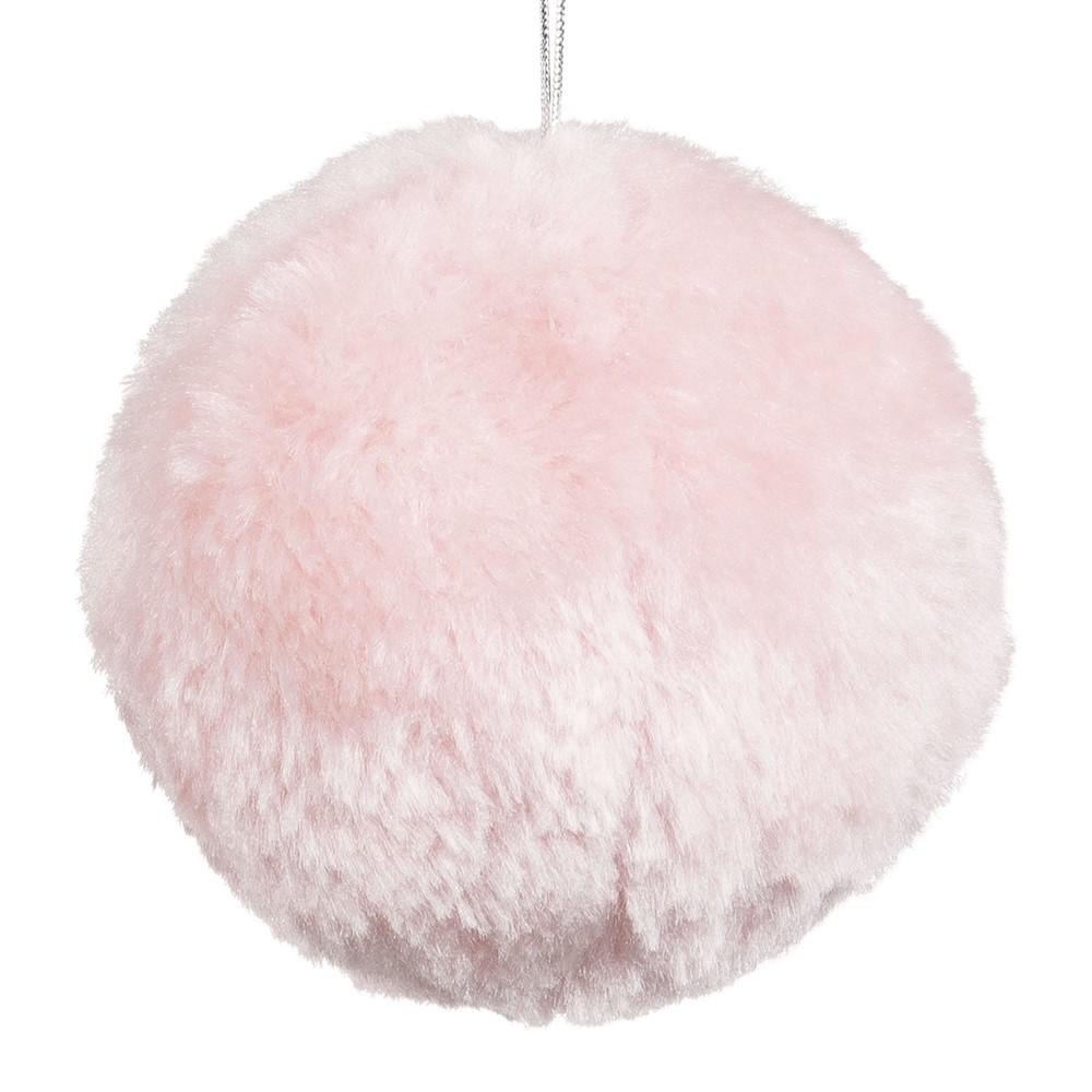 Boule de Noël imitation fourrure rose