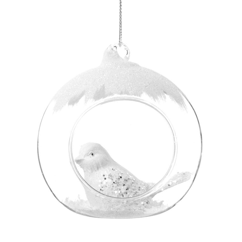 Boule de Noël ouverte en verre décor nid d'oiseau