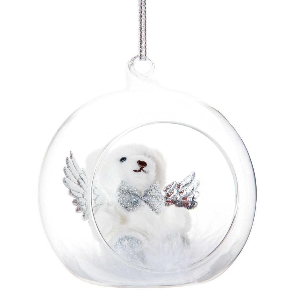 Boule de Noël ouverte en verre et ourson blanc