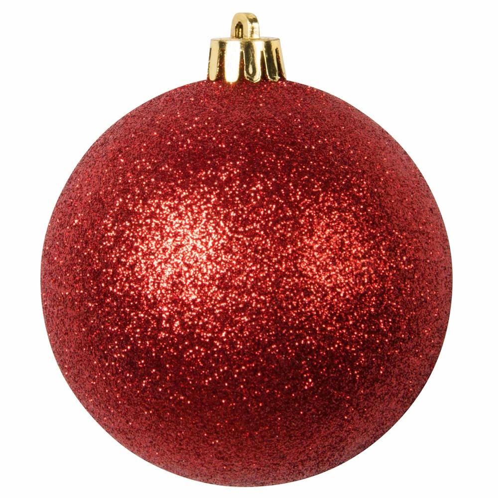 Boule de Noël rouge à paillettes