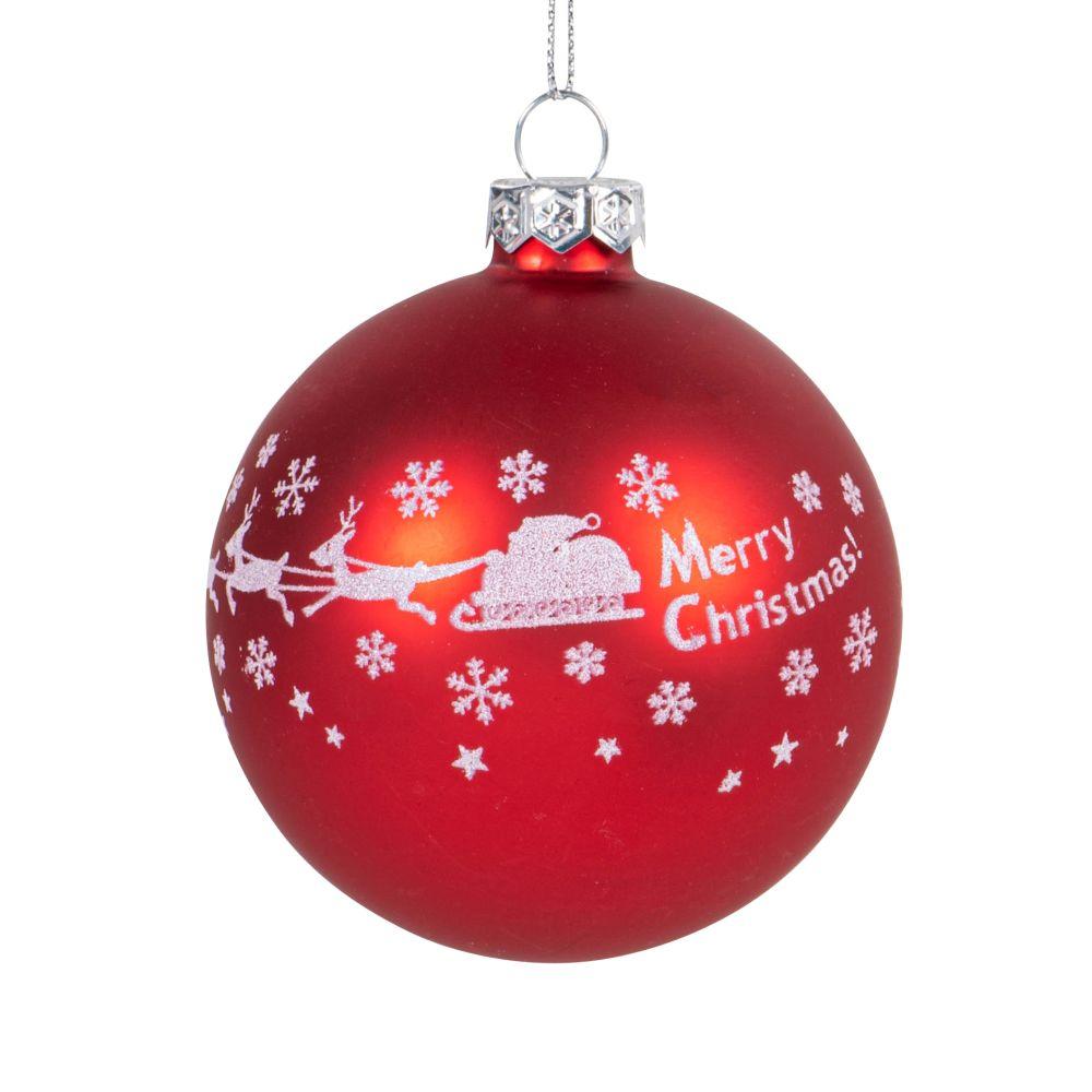 Boule de Noël rouge décor traineau enneigé