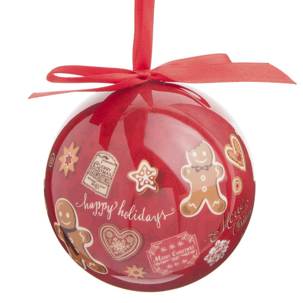 Boule de Noël rouge imprimé pain d'épice