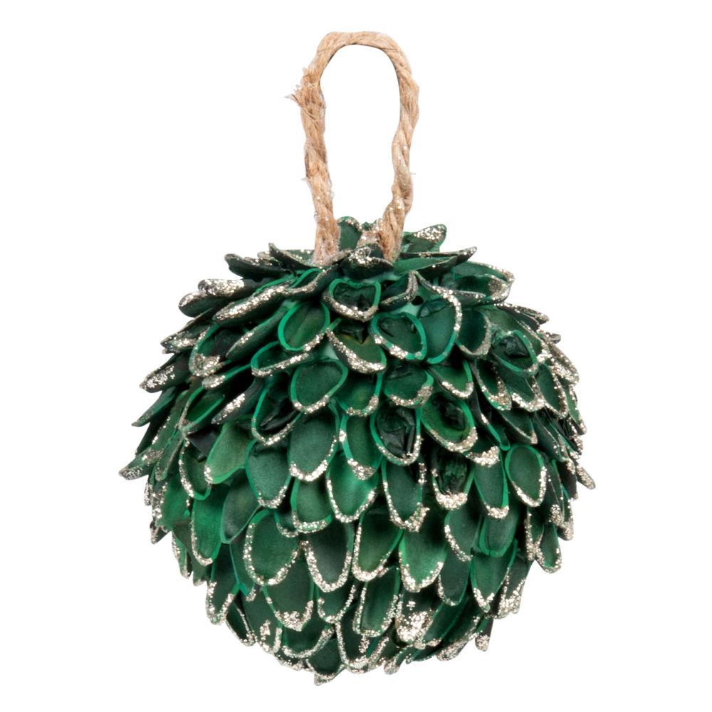 Boule de Noël verte à paillettes dorées