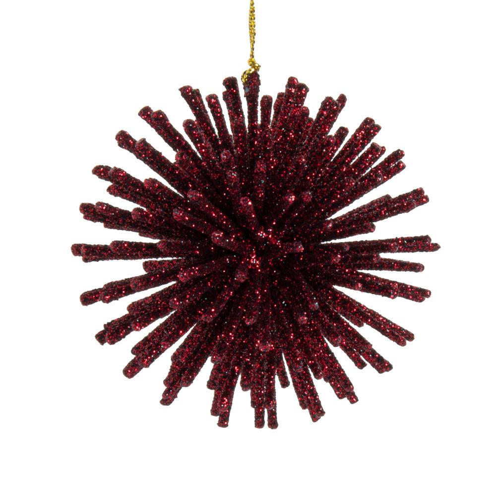 Boule de Noël violette à paillettes
