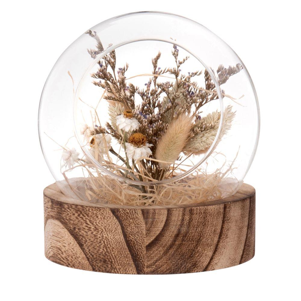 Boule en verre, support en paulownia et fleurs séchées beiges