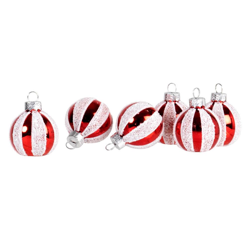 Boules de Noël en verre teinté blanc et rouge pailleté