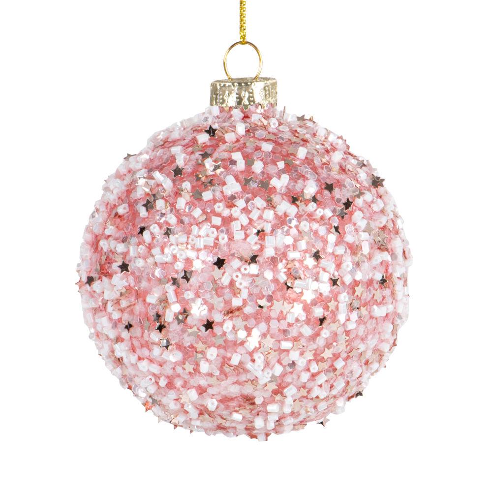 Boules de Noël en verre teinté rose et petites perles blanches nacrées