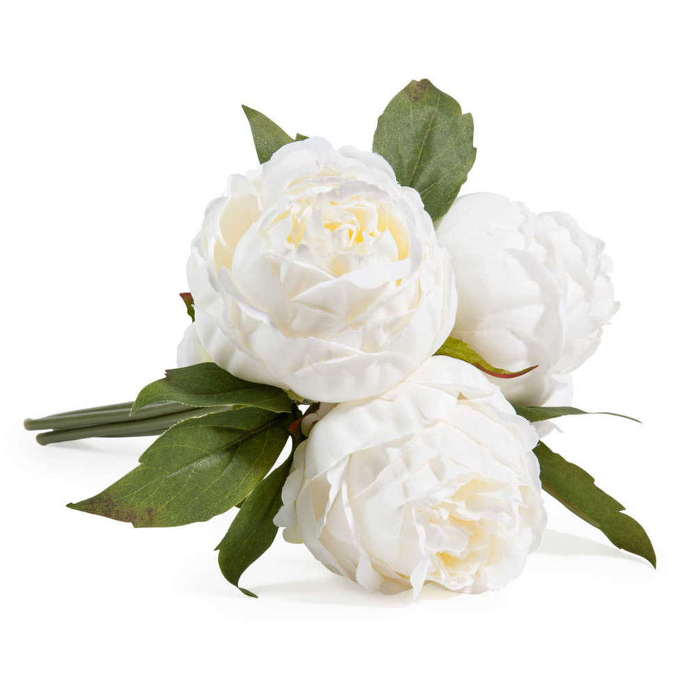 Bouquet de fleurs artificielles 3 pivoines blanches