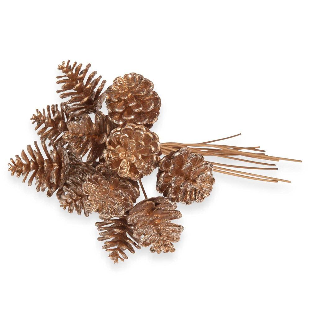 Bouquet pommes de pin artificielles dorées