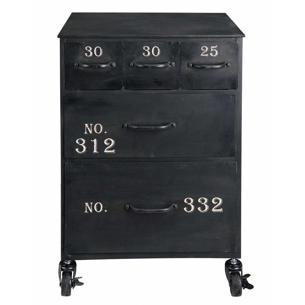 Bout de canapé 5 tiroirs en métal noir (photo)