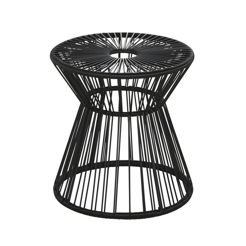 Bout de canapé de jardin en résine et métal noirs