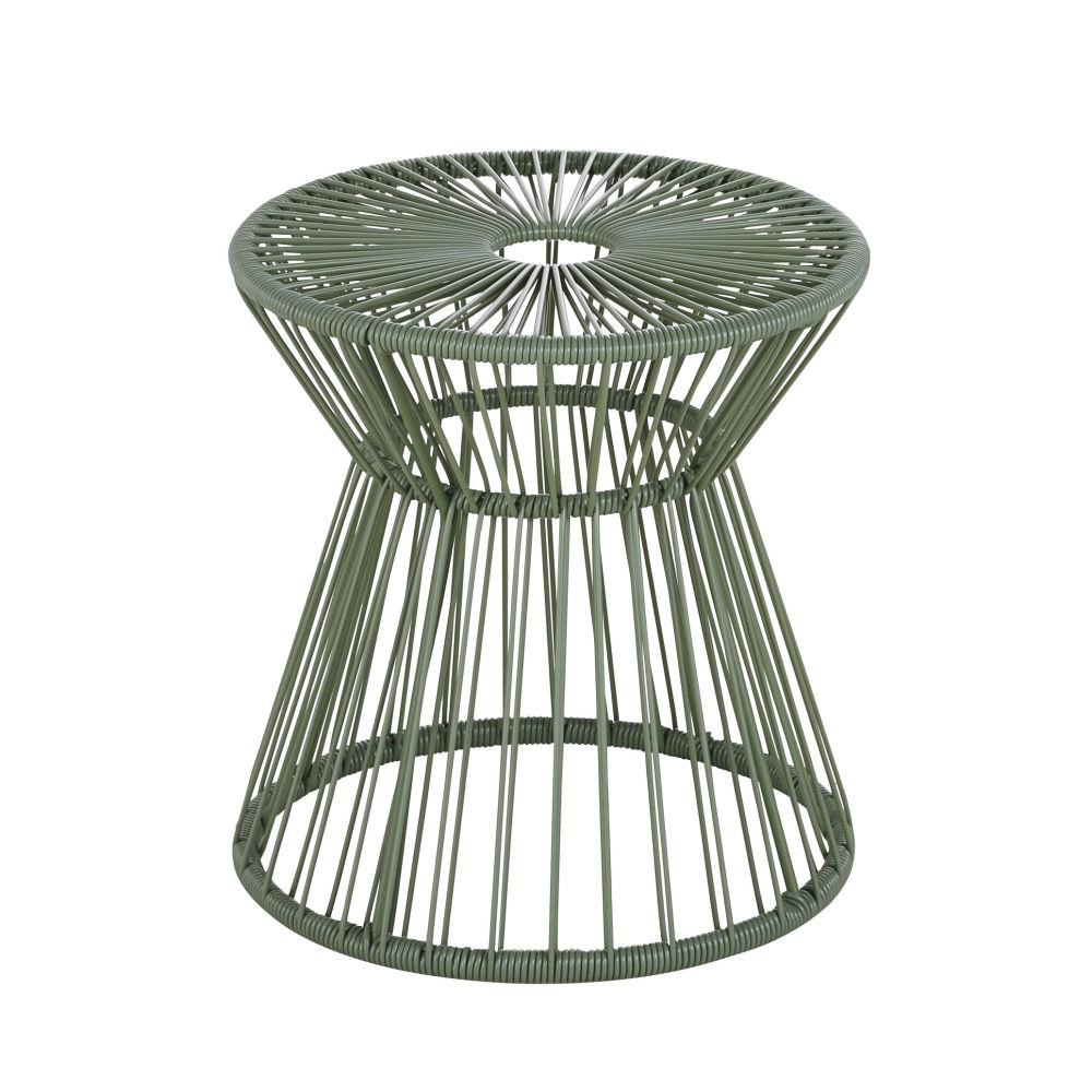 Bout de canapé de jardin en résine vert kaki et métal noir