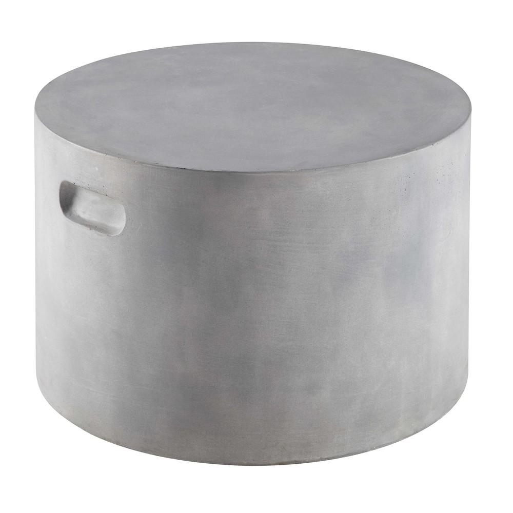 Bout de canapé de jardin finition ciment H.35cm