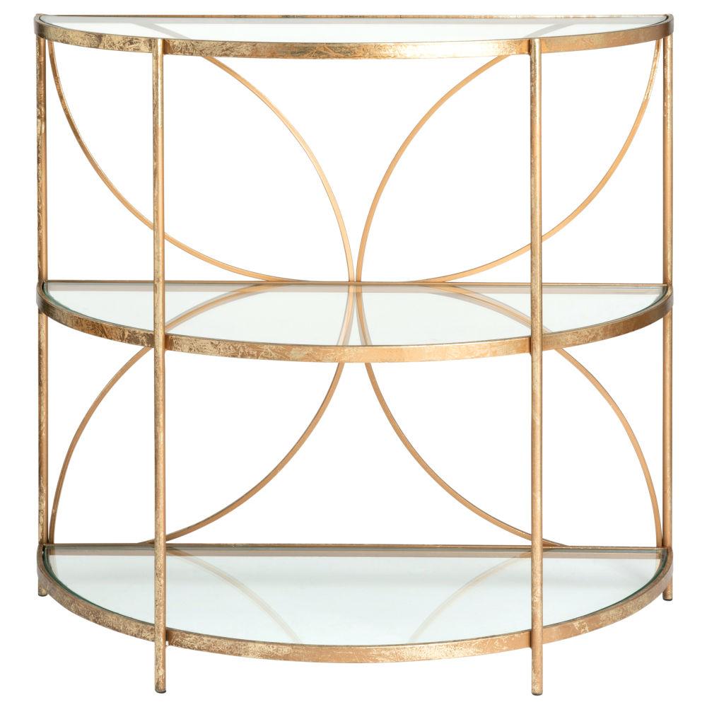 Bout de canapé demi-lune en métal doré et verre (photo)