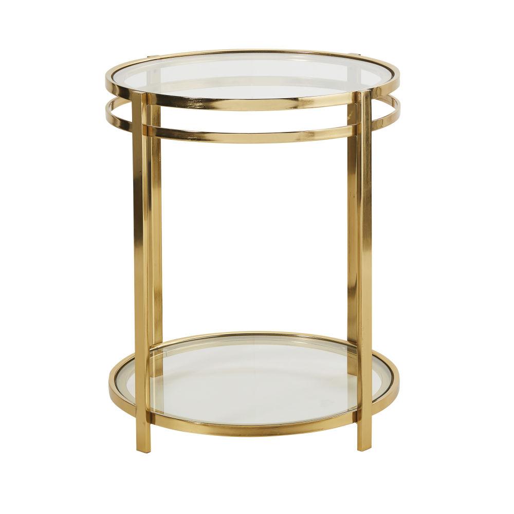 Bout de canapé double plateaux en verre et métal doré