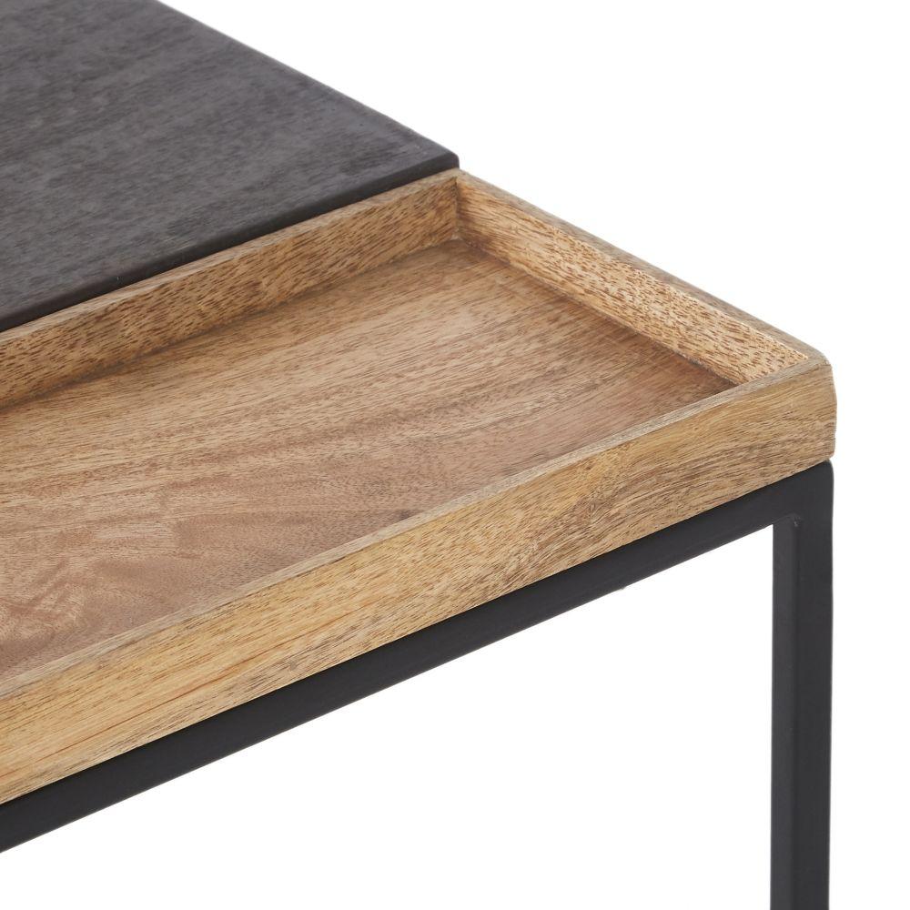 Bout de canapé en manguier et métal noir