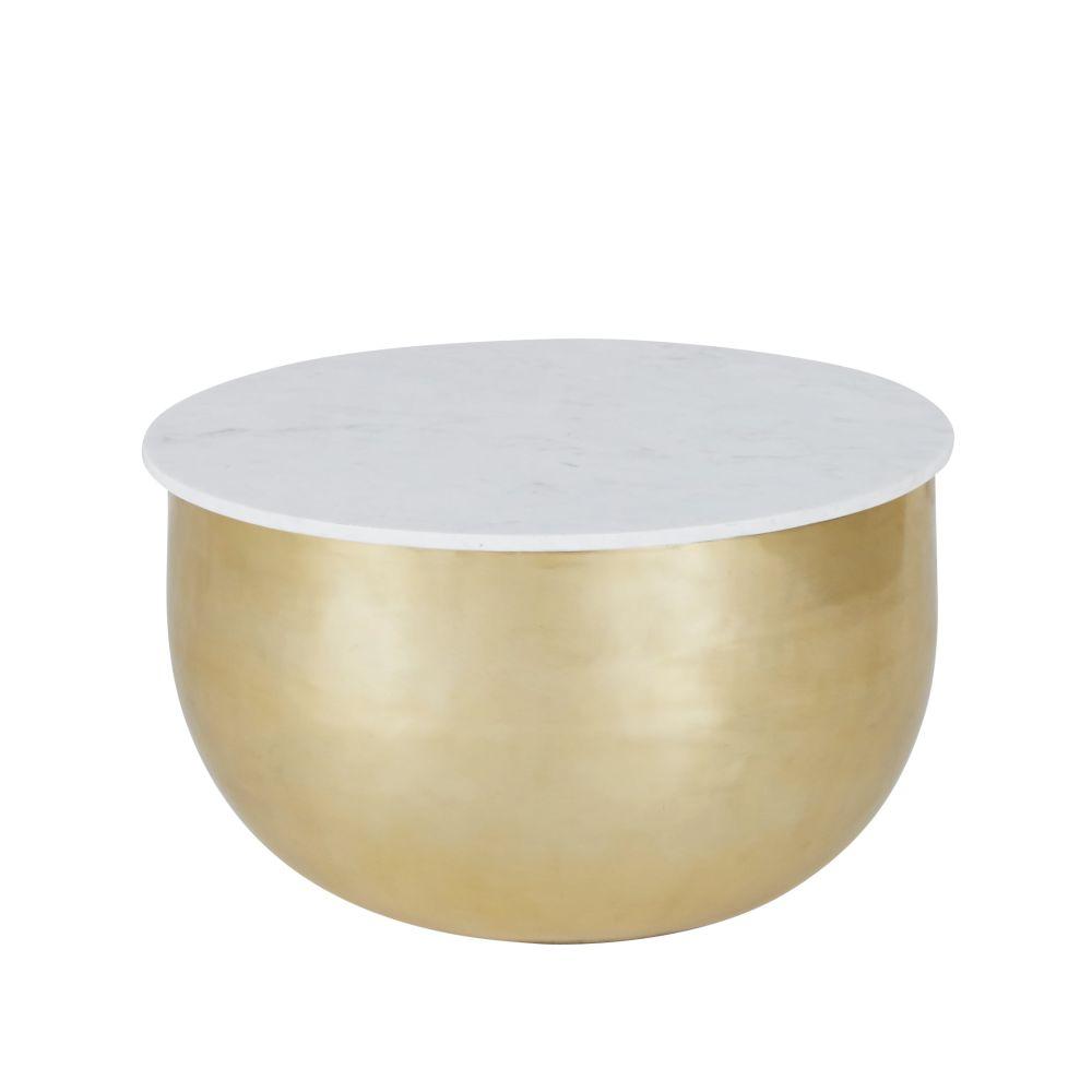 Bout de canapé en marbre blanc et aluminium doré mat
