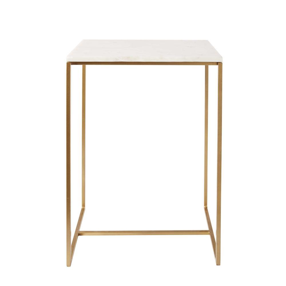 Bout de canapé en marbre blanc et métal doré