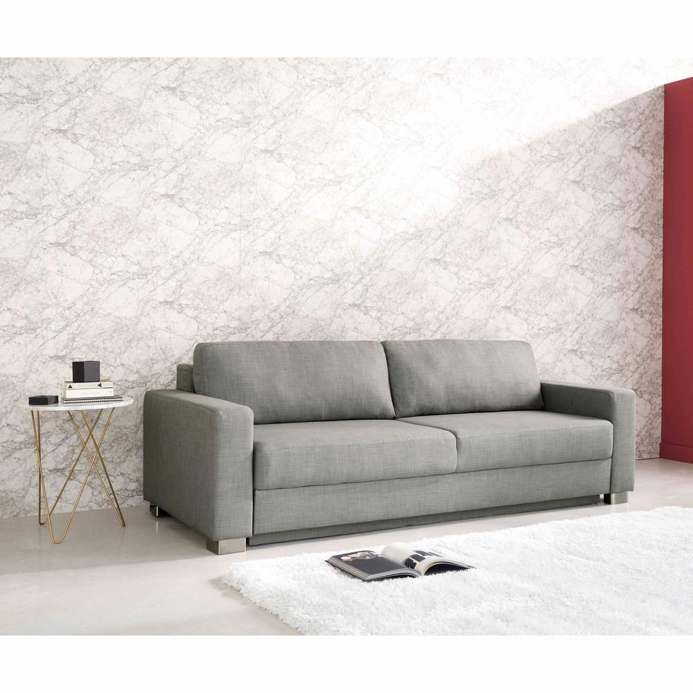 Bout de canapé en marbre clair et métal doré