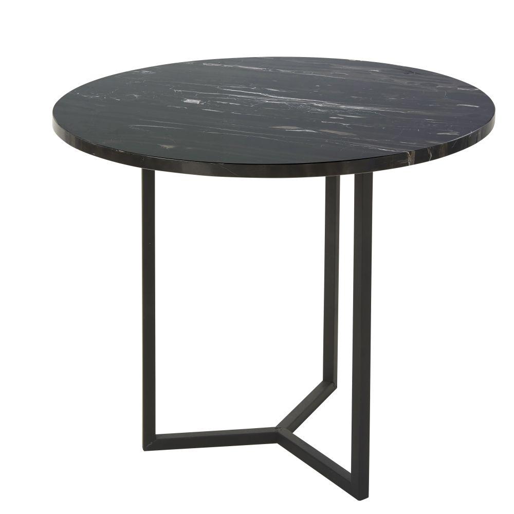 Bout de canapé en marbre et métal noir