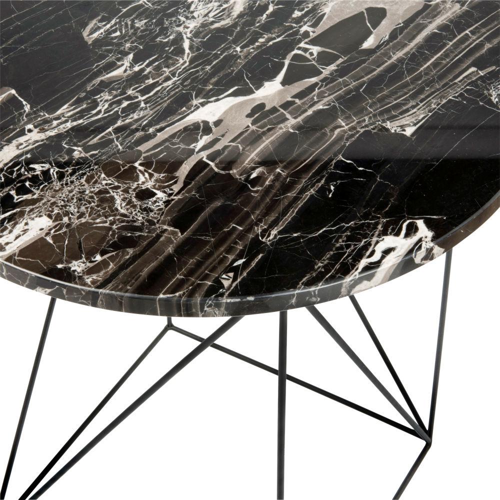 Bout de canapé en marbre et métal noirs