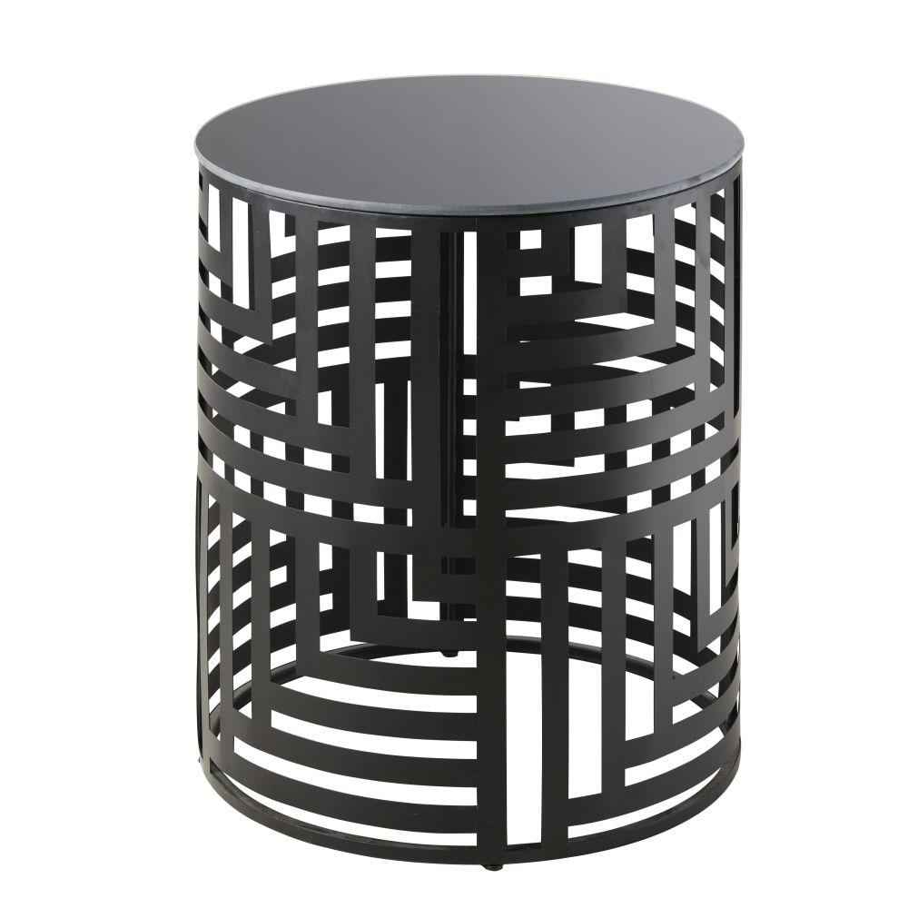 Bout de canapé en métal ajouré noir