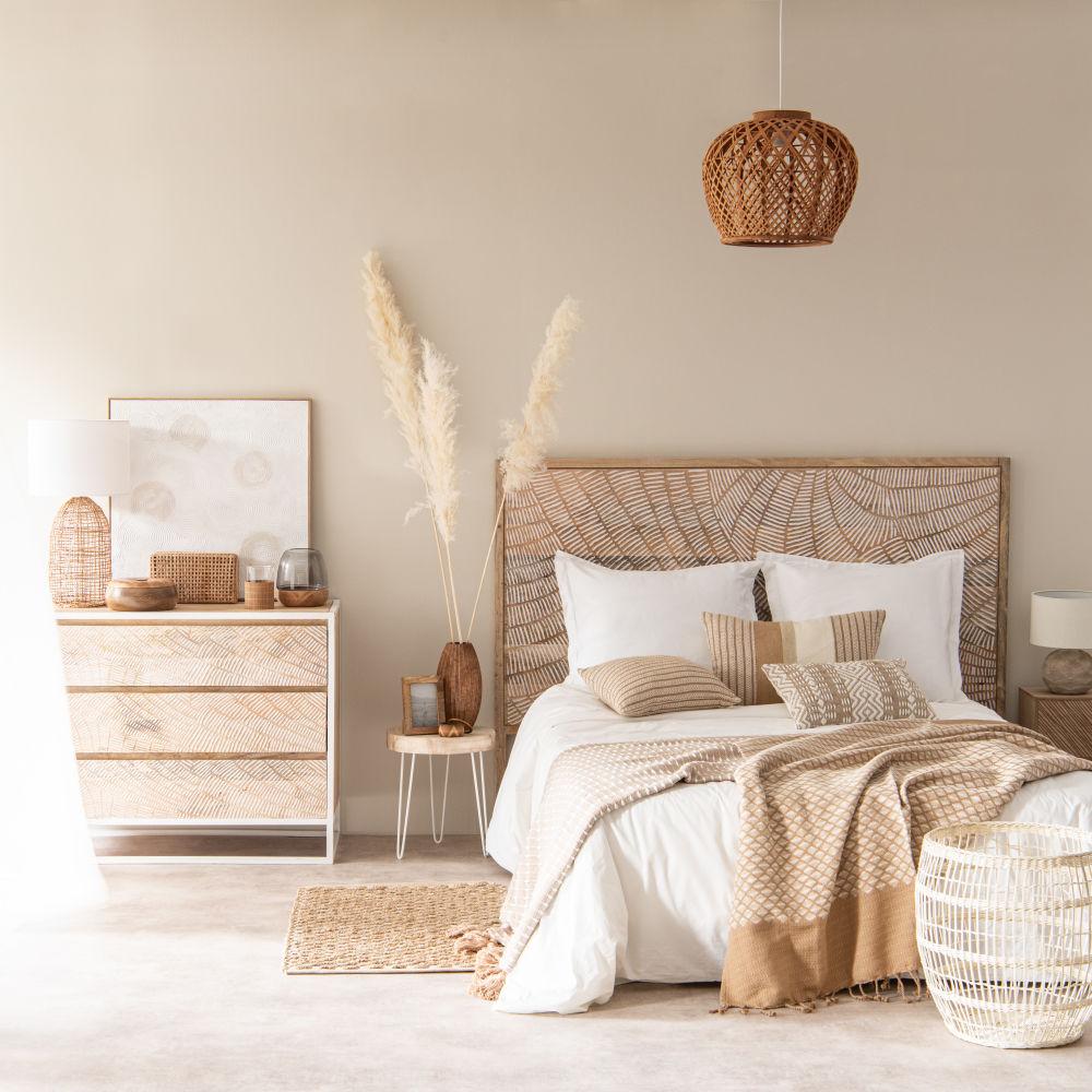 Bout de canapé en métal blanc et paulownia