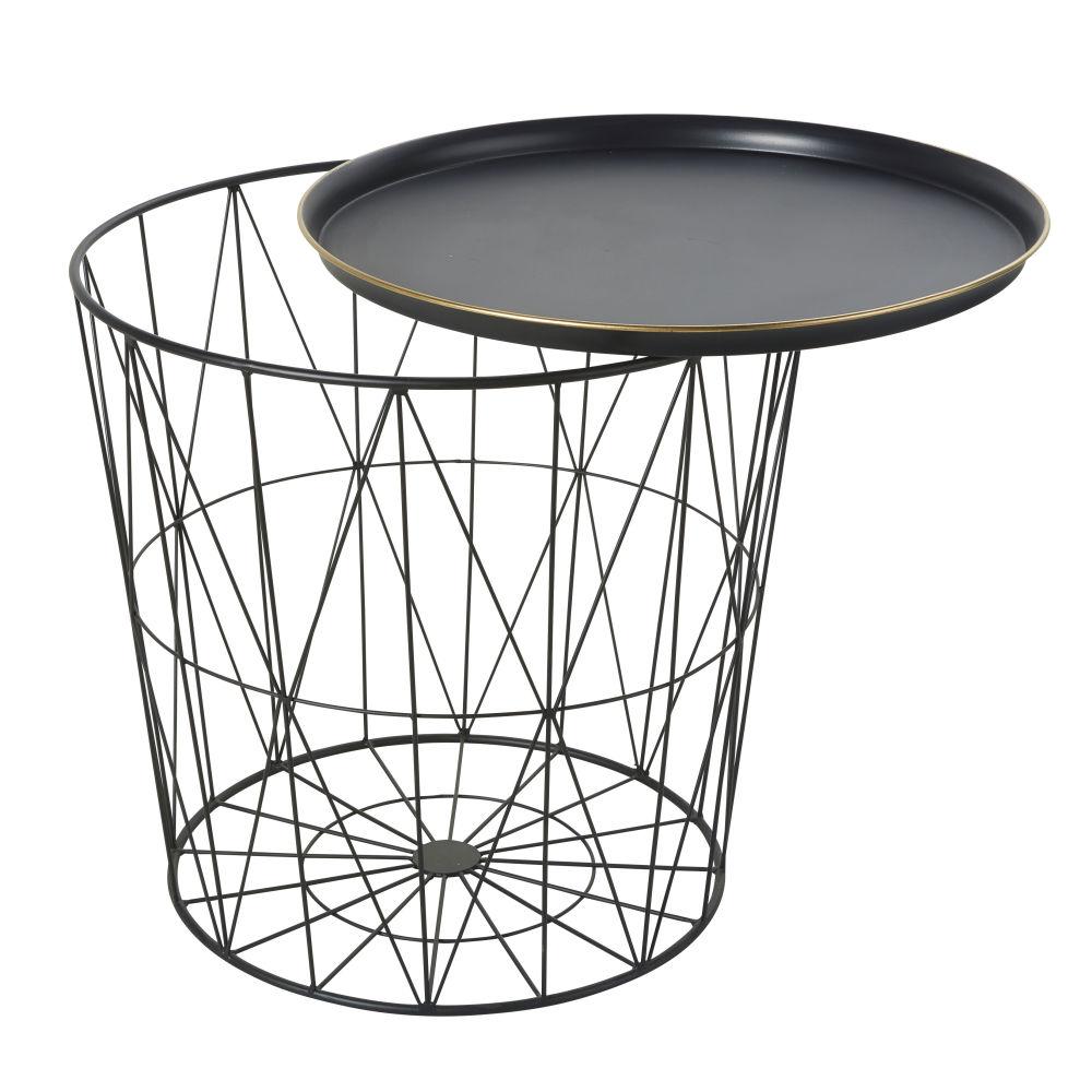 Bout de canapé en métal filaire noir