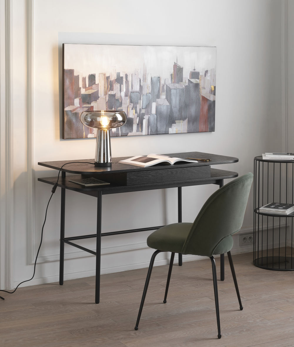 Bout de canapé en métal noir mat et verre