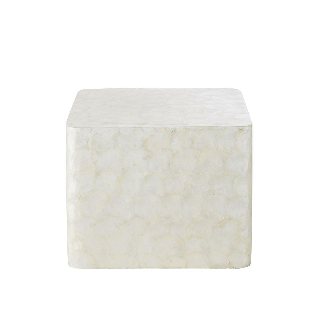Bout de canapé en nacre blanc et pin
