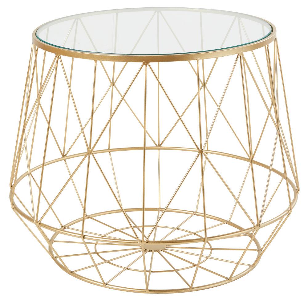 Bout de canapé en verre et métal filaire doré