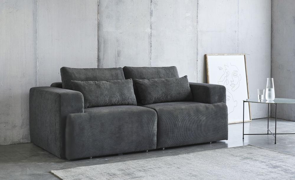 Bout de canapé en verre gris et métal noir