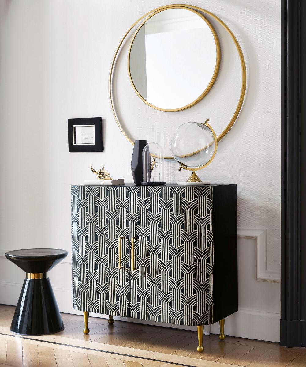 Bout de canapé en verre noir et métal doré