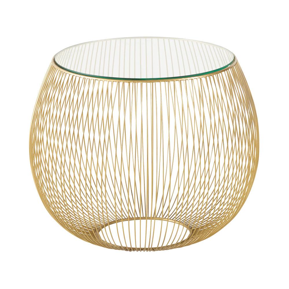 Bout de canapé filaire en verre et métal doré