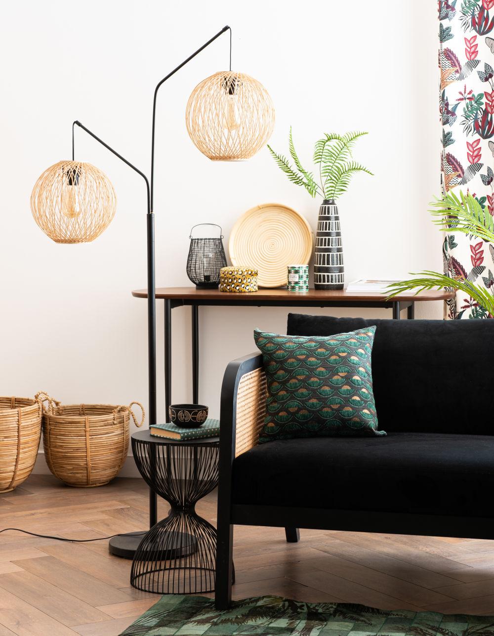 Bout de canapé filaire noir mat