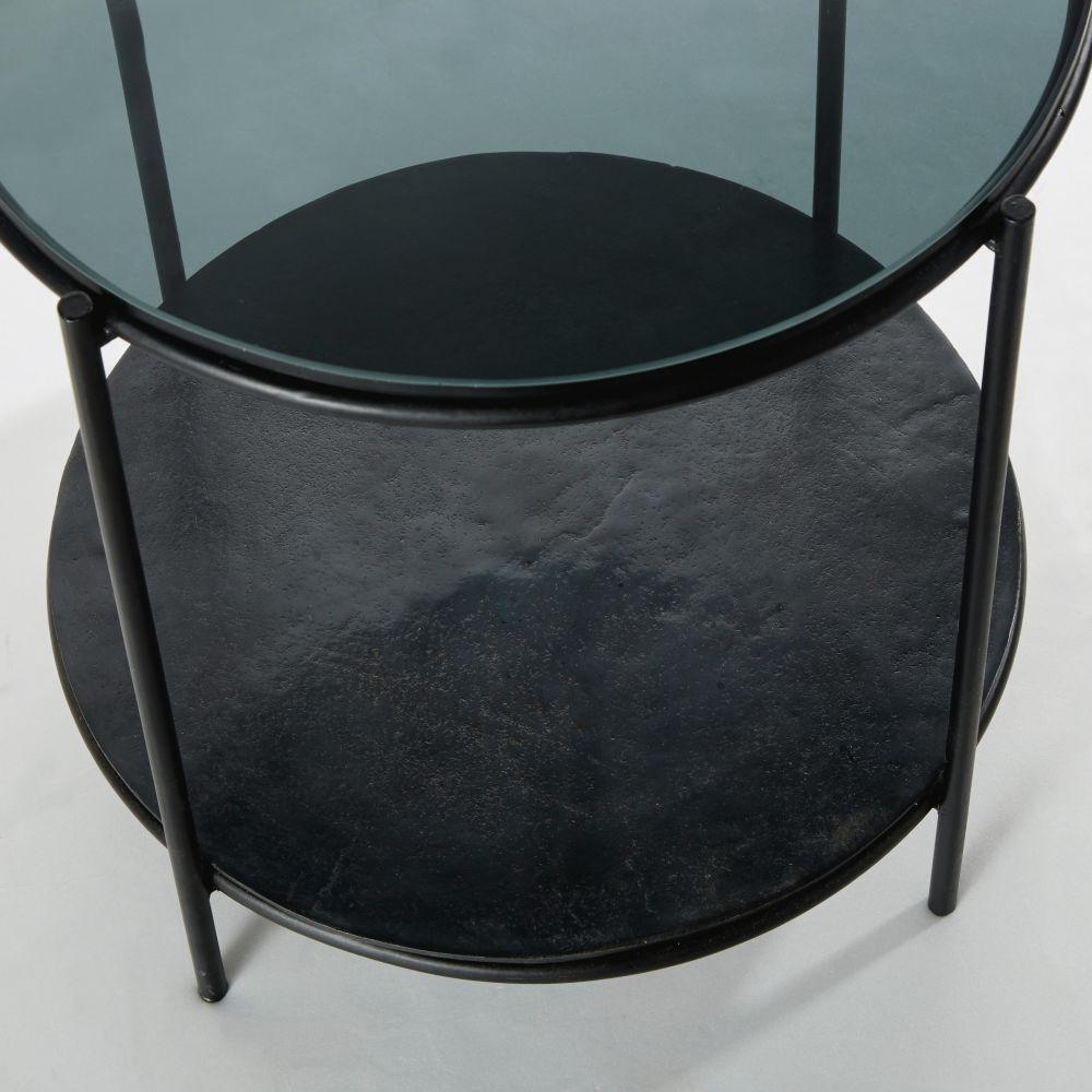 Bout de canapé rond en métal et verre noirs