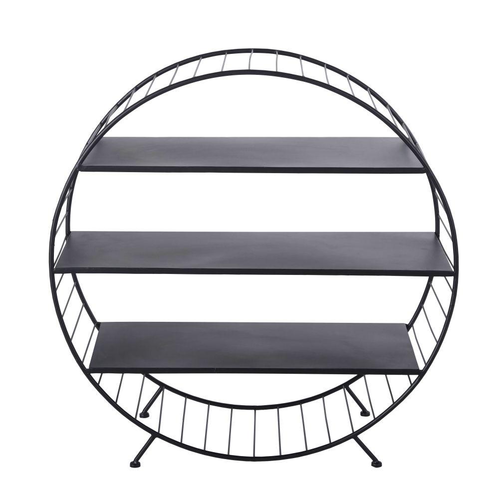 Bout de canapé rond en métal noir