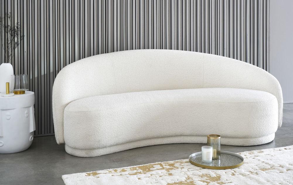 Bout de canapé visage en fibre de verre sculpté blanc