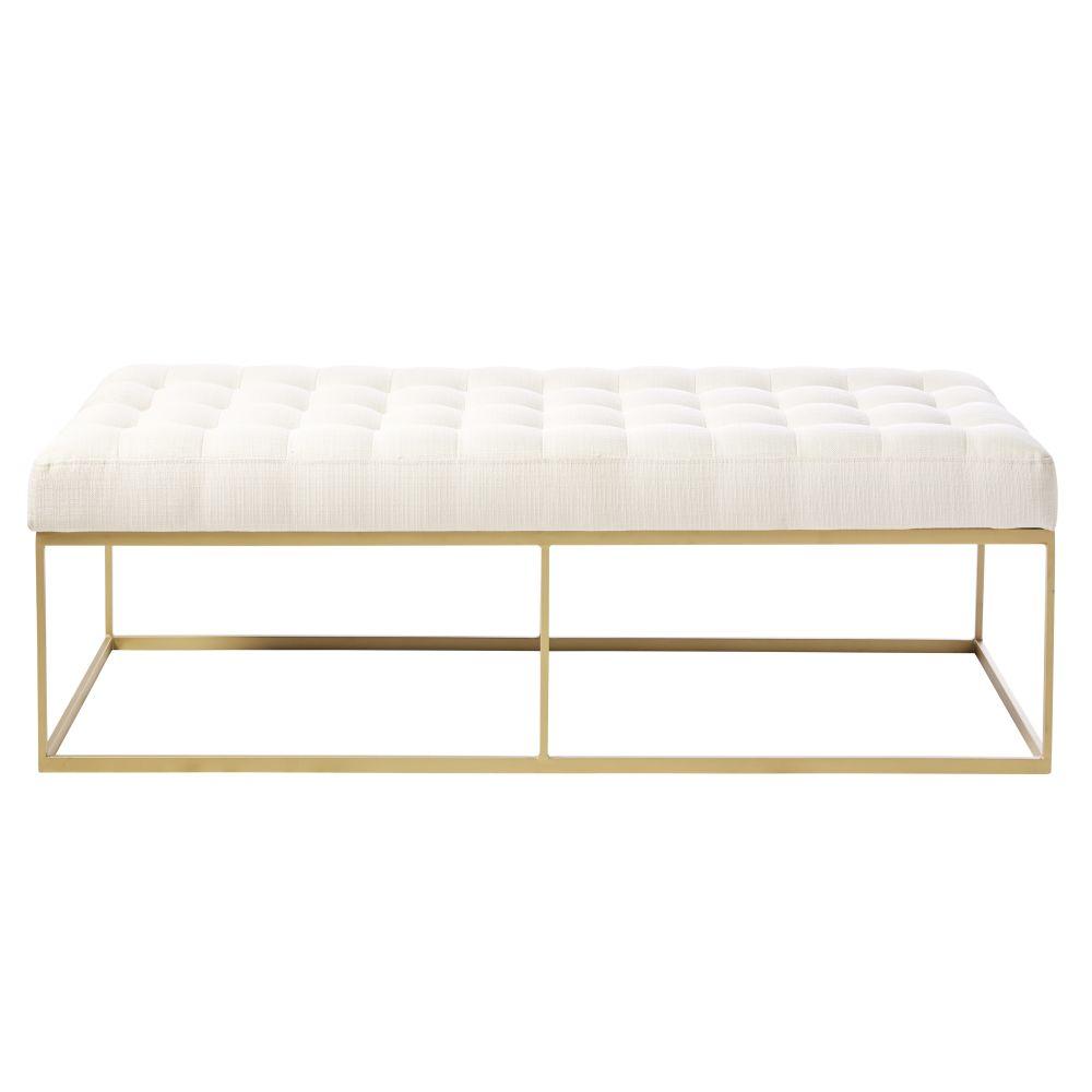 Bout de lit capitonné beige et métal coloris laiton