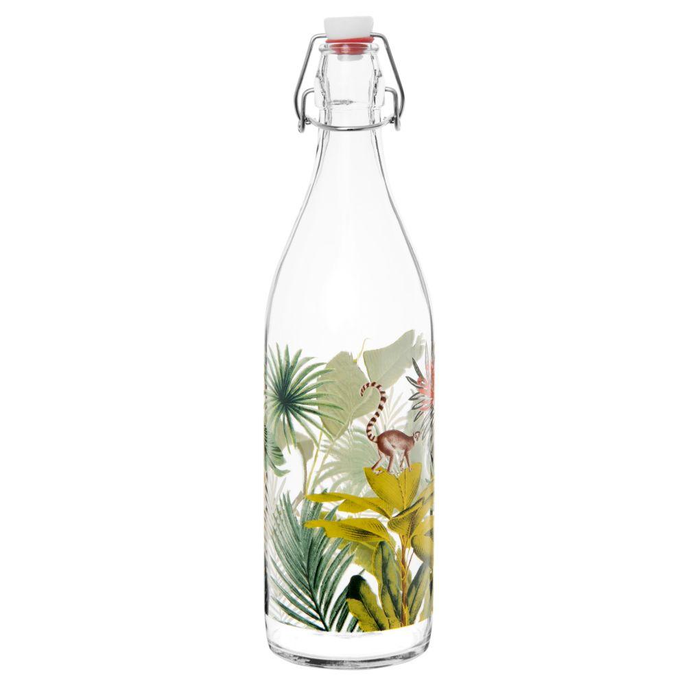 Bouteille en verre imprimé tropical vert et rose 1L