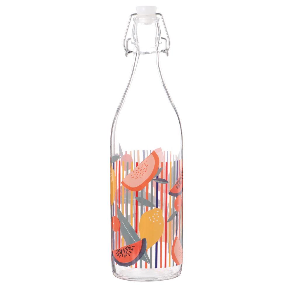 Bouteille en verre motifs à rayures et fruits multicolores 1L